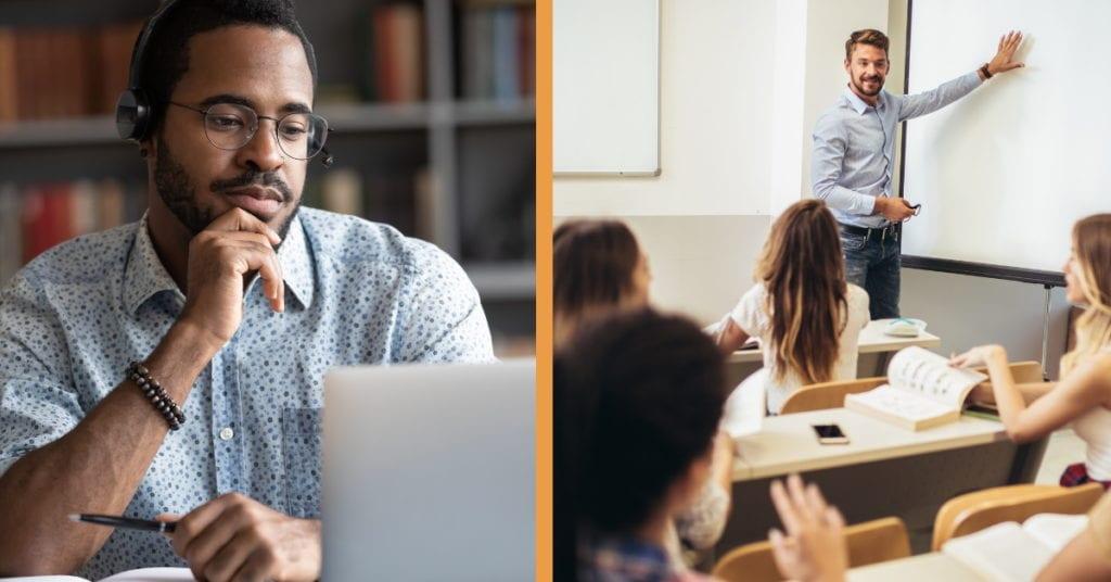 online vs. in-person classes