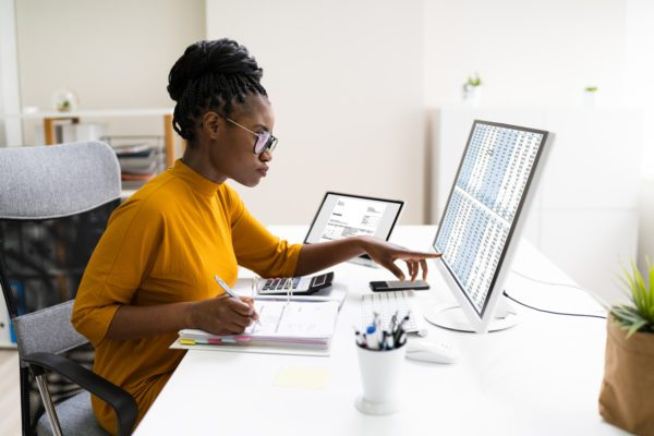 accountant working on a computer